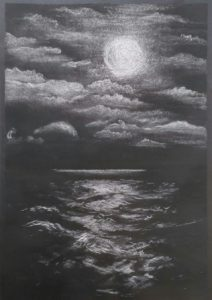 Sea and sky drawing in chalk and charcoal