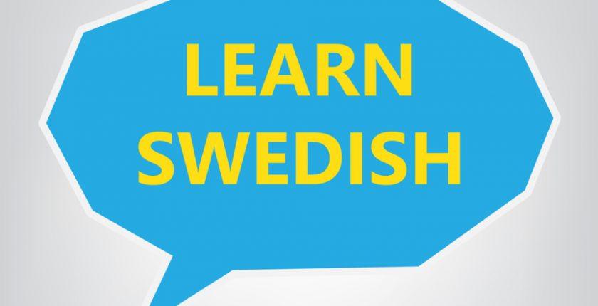 Blue speech bubble with Learn Swedish written