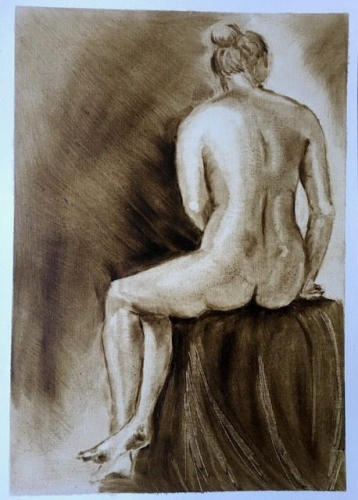 Drawing of a nude seated woman