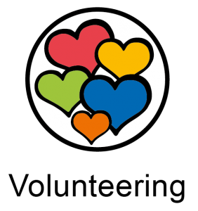 Volunteering icon with coloured hearts