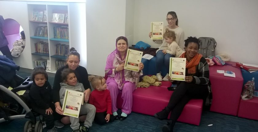 A group of women and children at Aylesbury library