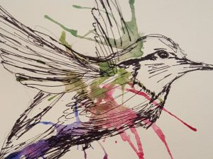 Watercolour painting of a blue, red and green hummingbird