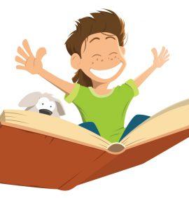 cartoon boy and dog flying on a book