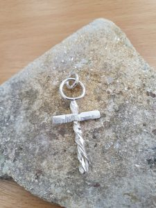 silver handcrafted cross pendant