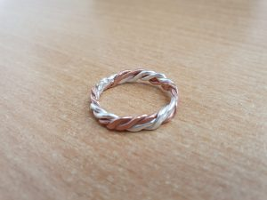 Twisted copper and silver ring