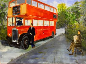 Painting of a red London bus with three men