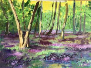Painting of bluebell woods