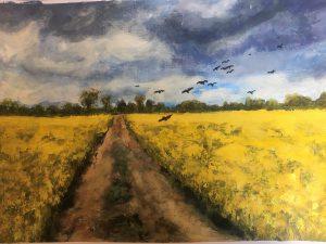 Painting of rape seed field