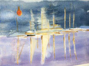 Painting of boats at sea