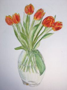 Painting of a vase with orange tulips