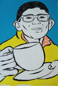 Pop art painting of man with cup of tea in blue and yellow