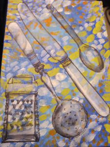 Painting of cutlery on patterned tablecloth