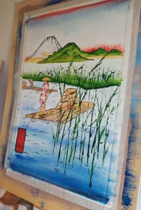 Painting of Chinese waterboat scene