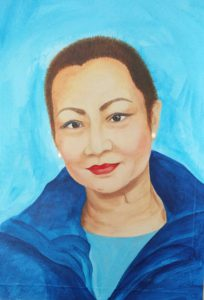 Portait painting of a woman in a blue jacket