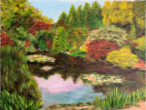 Painting of a garden and pond