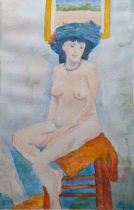 Painting of a woman in a hat