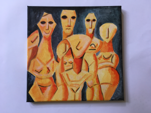 Abstract painting of people in orange