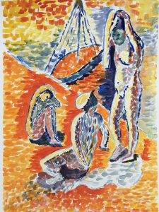 Orange and blue abstract painting of three women