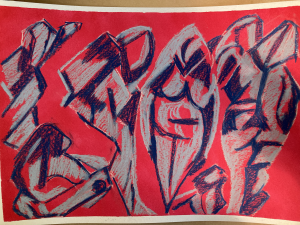 Abstract red and blue drawing of four women