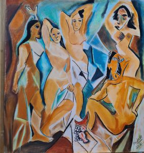 Abstract painting in Picasso style of five women