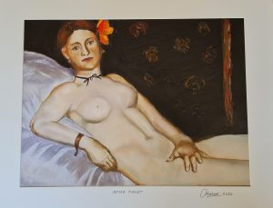 Painting of Olympia in style of Manet