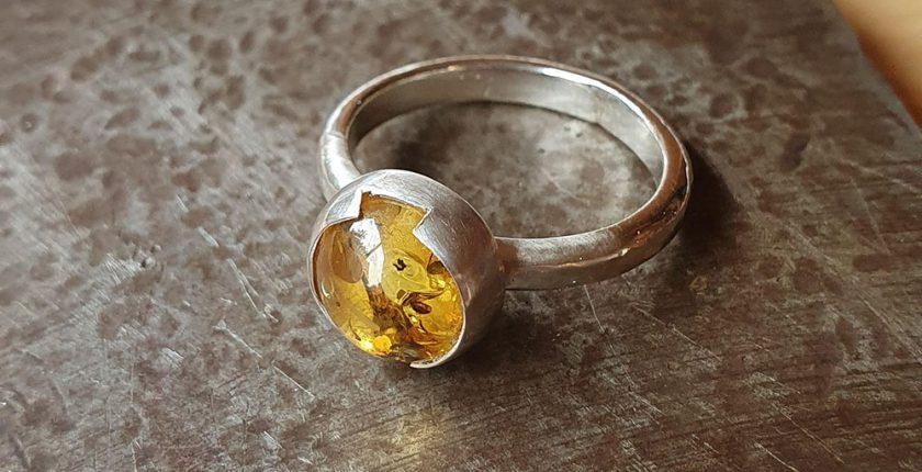 amber gemstone silver ring