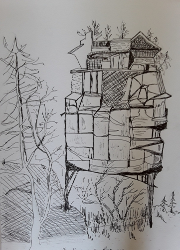Line drawing of a house on the rocks
