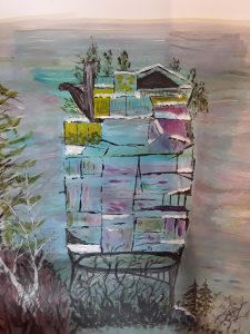 Painting of a house on the rocks
