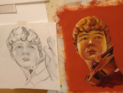 Two drawings of a boy playing the violin