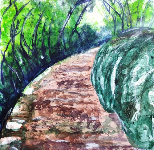 Painting of a mountain path