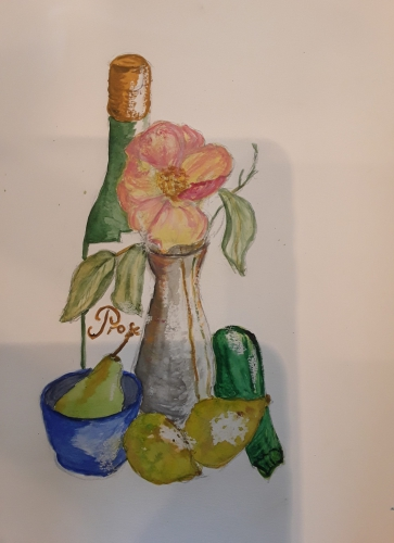 Painting of still life bottle, flower in vase and fruit