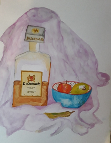 Painting of still life Disaronno bottle and fruit bowl