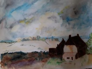 Landscape painting of with a dutch house, Norfolk